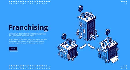 Franchising isometric landing page. Franchise business branch expansion. Small enterprise, company, shop, retail store or service with home office, corporate headquarter, 3d vector line art web banner 矢量图像