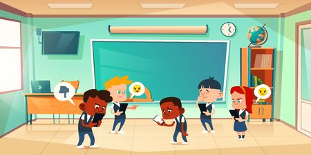 Cyber bullying in school, conflict and violence situation with sad black boy in classroom among laughing teenagers messaging in smartphone, internet cyberbulling, abuse Cartoon vector illustration
