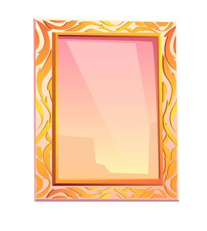Royal mirror in golden frame isolated on white background. Vector cartoon vintage rectangle mirror with luxury floral ornament on gold border. Majestic decoration for bedroom interior