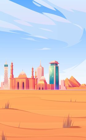 Egypt landmarks, Cairo city skyline mobile phone background or screen saver with world famous pyramids, tv tower, mosque in desert tourist attraction architecture buildings Cartoon vector illustration