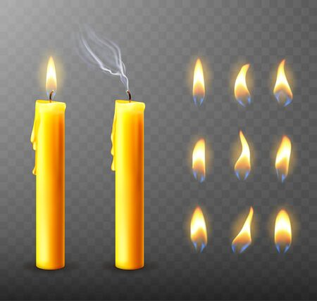 Burning candle with dripping or flowing wax, realistic vector illustration. Yellow candles with golden flame lit and extinguished with melted wax isolated on transparent. Church Christmas collection Vector Illustration