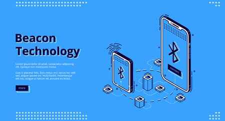 Beacon technology isometric web banner. Internet of things, communication network. Smartphones exchange and share information using wireless connection, iot. 3d vector landing page in line art style Vecteurs