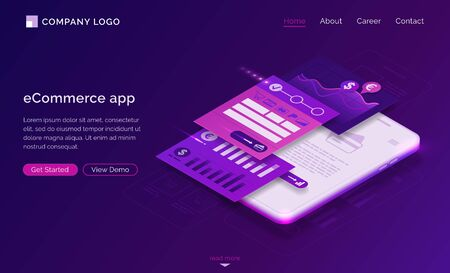 ECommerce app banner. Mobile payment concept. Vector landing page of online shopping with isometric illustration of UI UX design, interface layout on smartphone screen