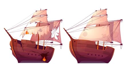 Retro wooden ships with white sail cartoon vector. Galleon or frigate and broken sailboat after sea battle. Ship in fire with holes in the hull isolated on white background