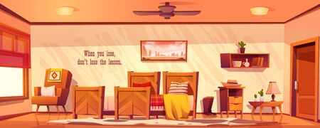 Wild west bedroom empty interior in western rustic style with wooden furniture. Cartoon vector room with unmade bed with plaid, armchair, night table, lamp, bookshelf, picture on wall and cow skin rag