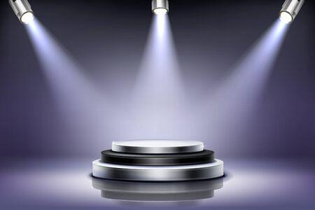 Round podium with spotlight illumination, empty stage for award ceremony, product presentation platform, fashion show performance pedestal, dance floor in nightclub Realistic 3d vector illustration Vettoriali