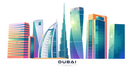 FEBRUARY 14, 2020. Cartoon vector illustration Burj Khalifa, Burj al Arab, Cayan Tower buildings, Dubai, UAE world famous architecture, megapolis futuristic skyscraper landmarks, United Arab Emirates