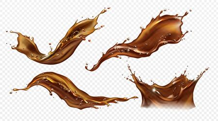 Splash of coffee, cola or tea isolated on transparent background. Vector realistic set of liquid waves of falling and flowing brown drink with drops and bubbles