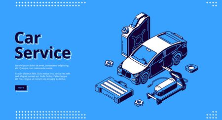 Car service banner for website. Auto maintenance, diagnostic and repair center. Vector landing page for mechanic garage, vehicle workshop with isometric icons of automobile and tools