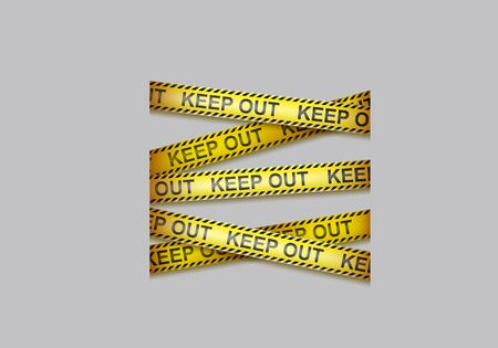 Caution tape with black and yellow lines and text keep out. Vector background with crossing warning ribbons, security barrier for restrict pass to construction area, forbidden zone