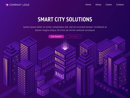 Smart city solutions isometric landing page, futuristic smartcity town with tall neon glowing skyscraper buildings on violet background. Internet of things cyber technologies, 3d vector web banner
