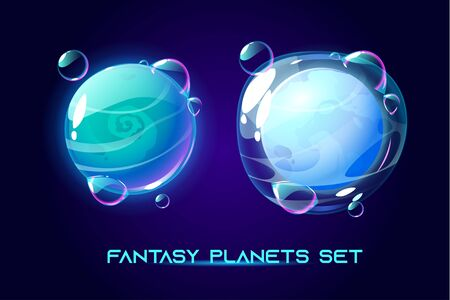 Fantasy space planets for ui galaxy game. Vector cartoon icons set of magic alien world, fantastic cosmic objects with soap bubbles and atmosphere, liquid core. Fantastic astronomy collection