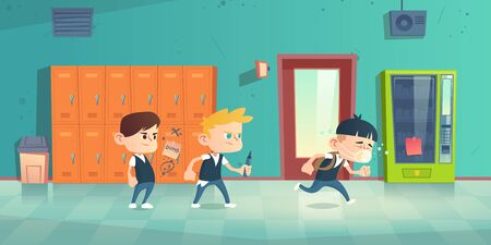 Students bullied sad asian boy in medical mask. School discrimination and xenophobia concept. Vector cartoon illustration of children mock lonely boy and draw gossip on his locker Иллюстрация