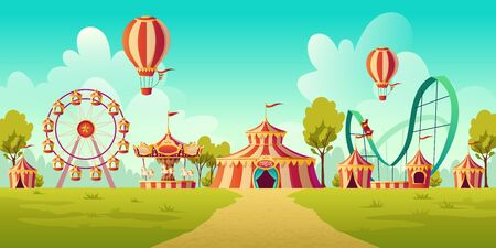 Carnival funfair, amusement park with circus tent, roller coaster, carousel and ferris wheel. Vector cartoon illustration of summer landscape with attractions and balloons Vectores