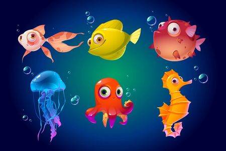 Cute sea animals, fish, octopus, jellyfish. Vector cartoon characters in ocean. Funny underwater creatures seahorse, puffer fish. Tropical aquatic fauna