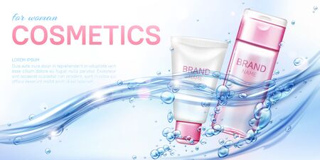 Woman cosmetic beauty product shampoo conditioner in water flow realistic vector poster. Pink white cream tube, micellar water lotion bottle for female cosmetics float in sparkling water with bubbles Illustration