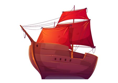 Vector wooden boat with red sails. Pirate merchant ship with blank scarlet canvas. Cartoon old wooden frigate, vintage galleon isolated on white background