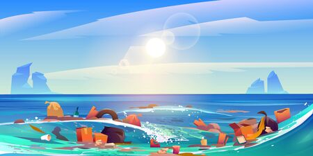 Pollution sea by plastic trash, garbage in water. Vector cartoon landscape of pacific ocean with floating dirty waste, bottles,boxes and bags. Ecological problem of polluted environment Ilustrace
