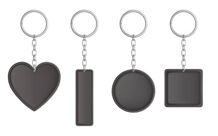 Leather keychain, holder trinket for key with metal chain and ring. Vector realistic template of black fob for car, home or office isolated on white background. Blank accessory for corporate identity