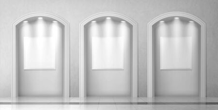 Arches in wall with columns and illuminated blank signboards, curved interior gates with white pillars and empty banners in art gallery or museum, archway classic frames, Realistic 3d vector mock up