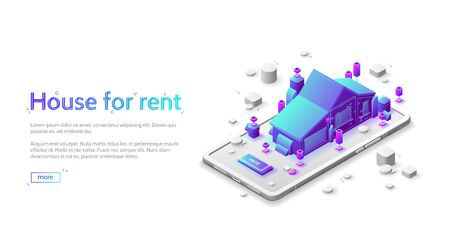 House for rent isometric landing page. Cottage building stand on huge smartphone screen with push button. Rental business, mobile phone application, realtor agency broker service, 3d vector web banner Ilustração