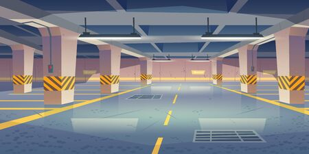 Underground car parking. Vector cartoon interior of empty basement garage with columns, road marking lots for automobiles and guiding arrows on wall. Car parking in mall or city house