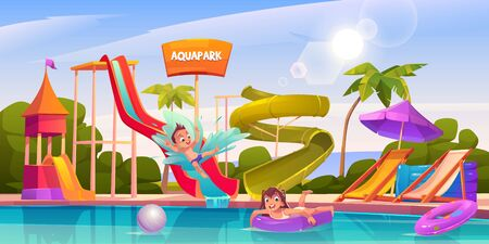Kids in aquapark, amusement aqua park with water attractions, boy riding slide, girl swimming in pool on inflatable ring, outdoor playground for children entertainment, Cartoon vector illustration