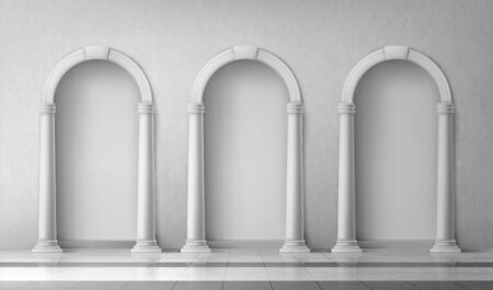 Arches with columns in wall, interior gates with white pillars in palace or castle, archway frames, portal entrance, antique alcove round doorway decoration element, Realistic 3d vector mock up