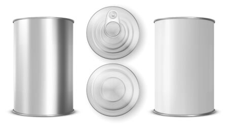 Tin can with ring pull side, top bottom view set. Cylinder food metal jar with lid, open key Silver colored aluminium canister for preserves isolated on white background, Realistic 3d vector icon