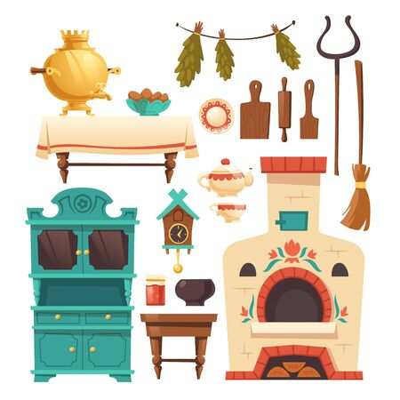 Interior elements of old russian kitchen with oven, samovar, cuckoo-clock and grip. Vector set of traditional ukrainian ancient furniture in rural house with stove isolated on white background