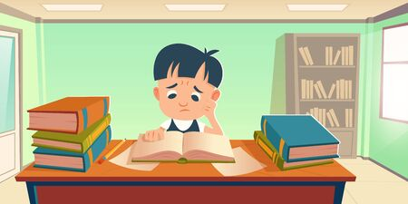 Tired student having stress of study. Sad boy reading book, prepare for exam or homework in school or university. Vector cartoon illustration of upset pupil sitting at table with stacks of books Illustration
