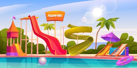 Aqua park with water slides, swimming pool, palms and lounger. Vector cartoon illustration of resort aquapark on sea beach with colorful spiral pipe and small kids waterslides Illustration