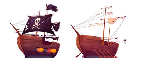Pirate ship and slave galley with oars isolated on white background. Wooden boats with black and white sails, shooting cannons and jolly roger flag. Old battleship, barge. cartoon Vector illustration