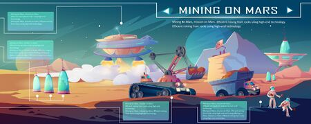 Mining on Mars infographics. Planet and space colonization, excavator and truck driving near alien futuristic buildings and astronauts. minerals exploration and extraction, Cartoon vector illustration