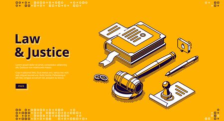 Law and justice isometric landing page. Gavel, constitution book, document with stamp, coins and pen lying on table. Punishment for crime, legal judgement, legislation 3d vector line art web banner