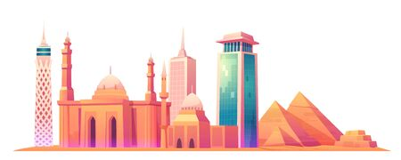 Vector cartoon illustration of Cairo Tower, Giza pyramid complex or Giza Necropolis, Mosque of Muhammad Ali Pasha or Alabaster Mosque, Egypt skyline with world famous landmark buildings
