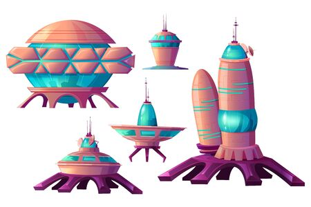 Space colonization cartoon vector set illustrations. Spaceships and rocket or shuttle for universe exploration, cosmic base and elements of alien settlement isolated on white background  イラスト・ベクター素材