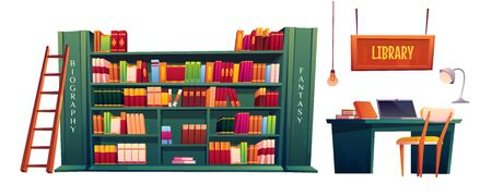 Library with books on shelves and laptop on table. Vector cartoon illustration of school, university or public library or store with bookcase, desk for study and lamp isolated on white background