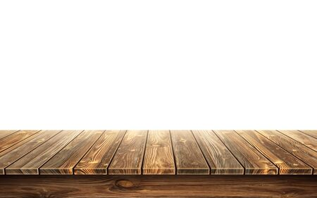 Wooden table top with aged surface, realistic vector illustration. Vintage dining table made of darkened wood, realistic plank texture. Empty desk top isolated on white wall. Illustration