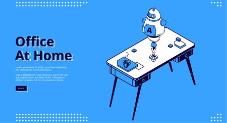 Office at home isometric landing page. Ai robot on workplace with computer table and coffee cup, working place desk for businessman, analyst, freelancer, 3d vector illustration, line art web banner