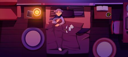 Sick woman lying in bed with fever. Night bedroom interior with sad girl under blanket top view. Vector cartoon illustration of ill woman character with thermometer in mouth and tablets on bed
