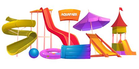 Aquapark equipment set. Modern amusement park water attractions slides, inflatable swimming pool, ball and longue isolated on white background. Cartoon vector playground for kid entertainment, clipart
