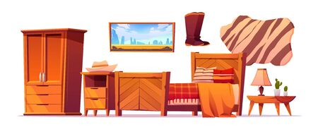 Wild west bedroom stuff set. Western rustic style wooden furniture, cupboard, bed with checked plaid, cowboy hat and boots, night table with lamp, picture and animal skin rag, Cartoon vector clip art