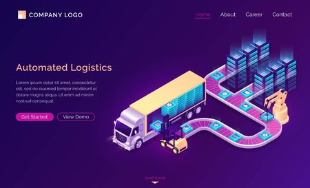 Automated logistics isometric landing page. Web icons moving on conveyor belt with crane and data blocks, Modern smart forklift loading cargo to freight truck, delivery service 3d vector web banner Ilustración de vector