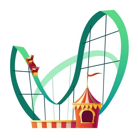 Roller coaster ride. Rollercoaster attraction with happy people in amusement carnival park isolated on white background. Festive fair and recreation entertainment Cartoon vector illustration, clip art