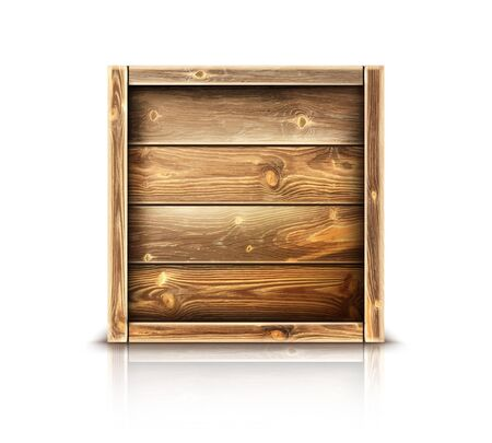 Boîte en bois, caisse en bois fermée réaliste pour le transport de marchandises. Stockage postal pour la livraison de fret ou de produits isolé sur fond blanc. Exporter le paquet de colis d'importation simuler une image clipart vectorielle 3d