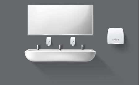 Public toilet with white ceramic sink and mirror. Vector realistic accessories for interior restroom with washbasin and hand dryer isolated on gray wall. Illustration of lavatory, WC