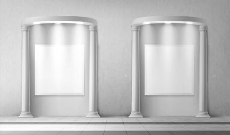 Arches with columns and illuminated blank signboards in wall, rectangular interior gates with white pillars and empty banners in art gallery or museum, archway frames, Realistic 3d vector mock up