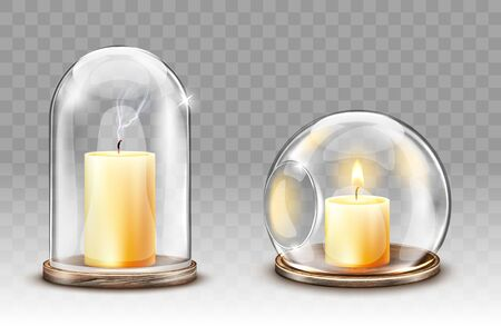 Glass domes with hole, candle holder realistic vector. Glass clear figures with burning and extinguished candle for decoration, isolated object for festive home decor