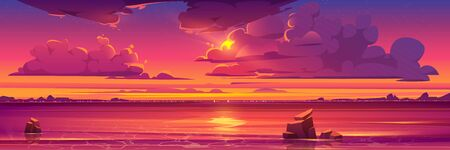 Sunset in ocean, pink clouds in sky with shining sun above sea with rocks sticking up of water and city lights on opposite shore, nature landscape background, evening view. Cartoon vector illustration Vector Illustratie